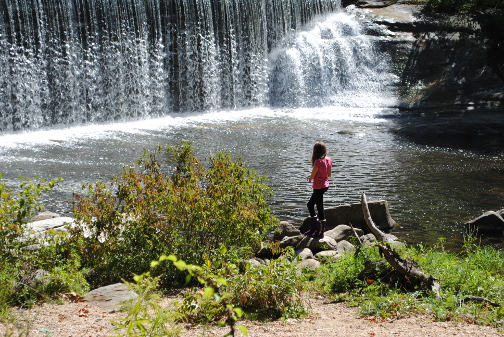 A visitor gazes at the pool below the dam at Beckley Furnace