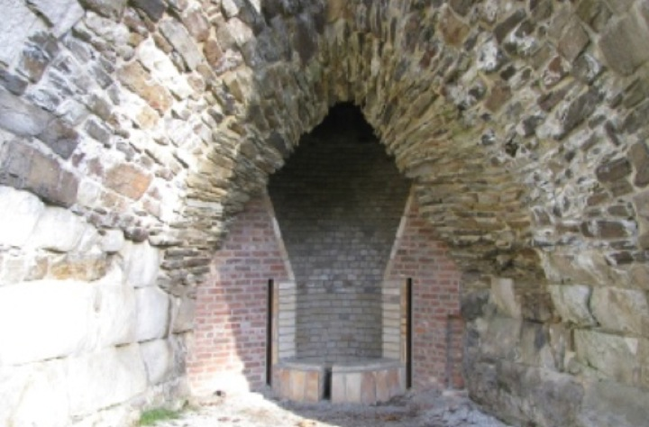 The hearth in the casting arch at Beckley Furnace